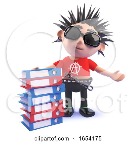 Vicious Punk Rocker Standing Next to a Stack of Folders, 3d Illustration by Steve Young