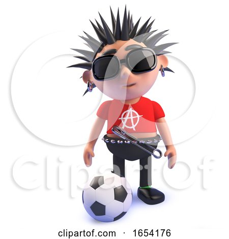 Football Loving Punk Rock Character, 3d Illustration by Steve Young
