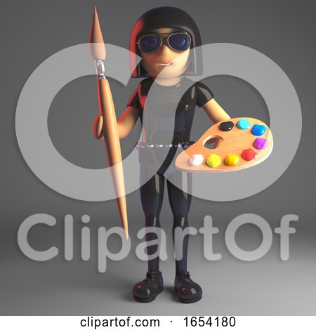 Cool Goth Girl in Leather Catsuit Holding a Palette and Paint Brush, 3d Illustration by Steve Young