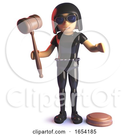 Gothic 3d Girl in Latex Jumpsuit Character Holding an Auction Gavel by Steve Young