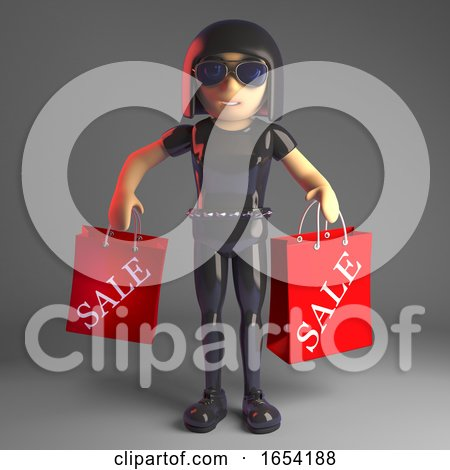 Cool Gothic Girl in Leather Catsuit Carrying Sale Shopping Bags, 3d Illustration by Steve Young