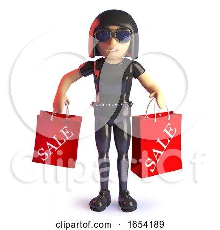 3d Gothic Style Girl Carrying Sale Shopping Bags by Steve Young