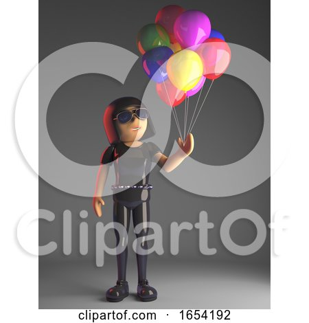 Cool Gothic Girl in Leather Catsuit Has Lots of Coloured Balloons, 3d Illustration by Steve Young