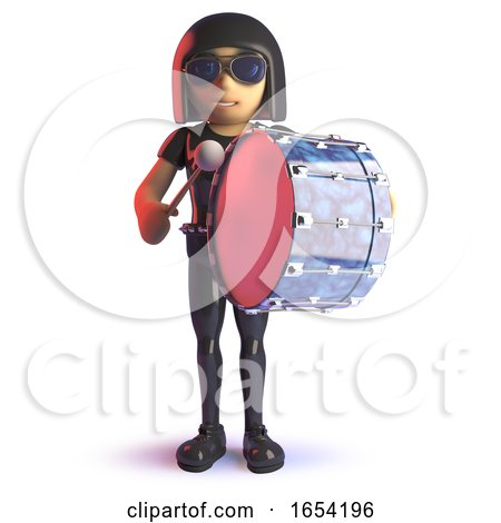 Cool Latex Wearing Gothic Girl in 3d Playing a Bass Drum by Steve Young