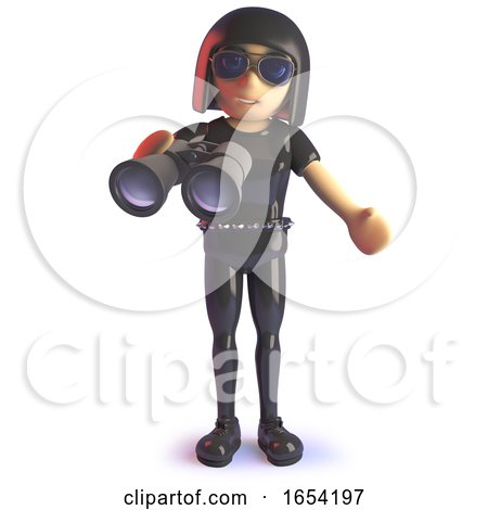 Cool Gothic Girl in Latex Catsuit with Binoculars, 3d Illustration by Steve Young