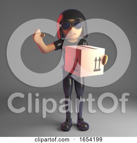 Cool Gothic Girl in Leather Suit Delivering a Cardboard Box, 3d Illustration by Steve Young