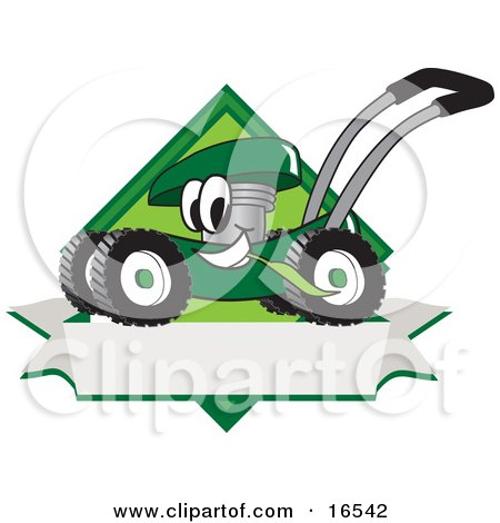 Clipart Picture of a Green Lawn Mower Mascot Cartoon Character Chewing Grass on a Blank Ribbon Label by Toons4Biz