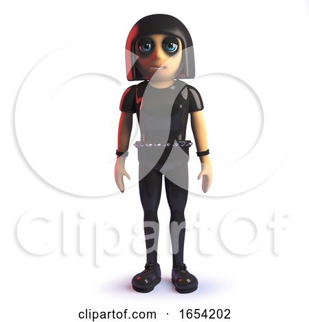 3d Goth Girl in Leather Jumpsuit Standing Calmly at Attention by Steve Young