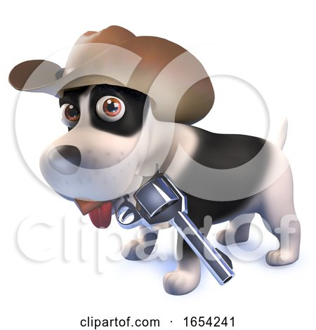 3d Funny Puppy Dog Dressed As a Cowboy with Pistol by Steve Young
