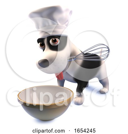 Funny Puppy Dog in Chefs Hat Making a Cake with a Whisk and Mixing Bowl, 3d Illustration by Steve Young