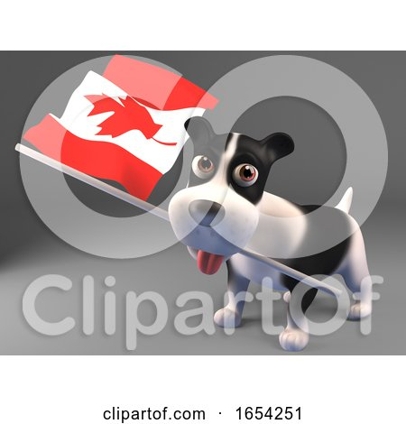 Cute Puppy Dog Carrying the Canadian Flag, 3d Illustration by Steve Young