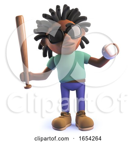 Black African Character in 3d Holding a Baseball Bat and Ball by Steve Young