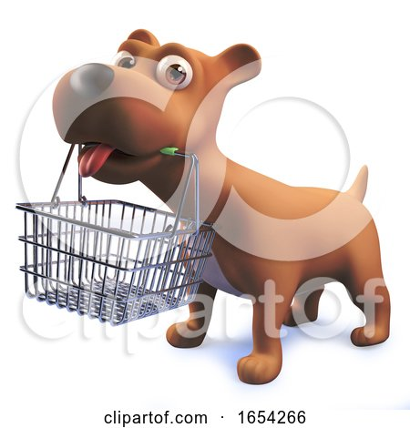 3d Cute Puppy Dog Hound Holding a Shopping Basket in Its Mouth by Steve Young