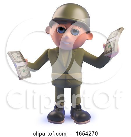 3d Army Soldier Holding Wads of Dollar Bills by Steve Young