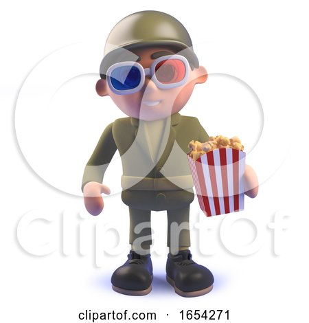 Army Soldier in 3d Wearing 3d Glasses and Eating Popcorn by Steve Young