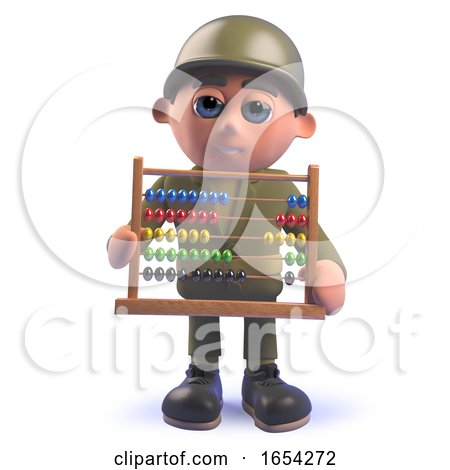 Army Soldier Character Holding an Abacus in 3d by Steve Young