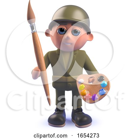Army Soldier Character in 3d Holding a Paintbrush and Palette by Steve Young
