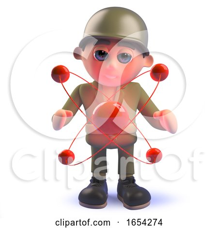 Character Army Soldier in 3d with Nuclear Atomic Particle by Steve Young