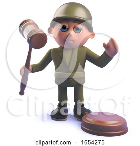 Army Soldier Character Holding an Auction Gavel in 3d by Steve Young