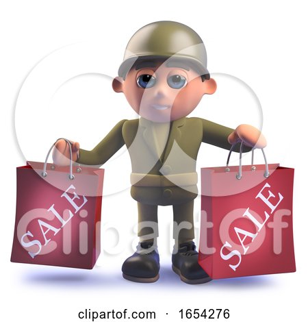 Army Soldier Character in 3d Holding Two Shopping Sale Bags by Steve Young