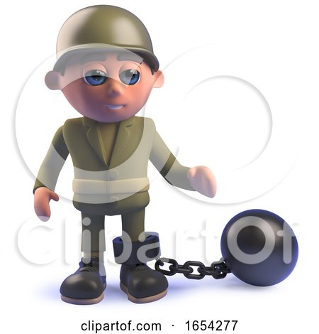 Army Soldier in 3d with Ball and Chain by Steve Young
