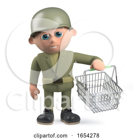 Army Soldier in 3d Holding a Shopping Basket by Steve Young