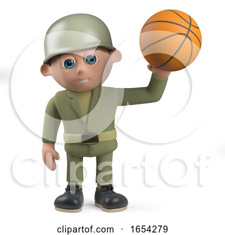 Character Army Soldier Holding a Basketball in 3d by Steve Young