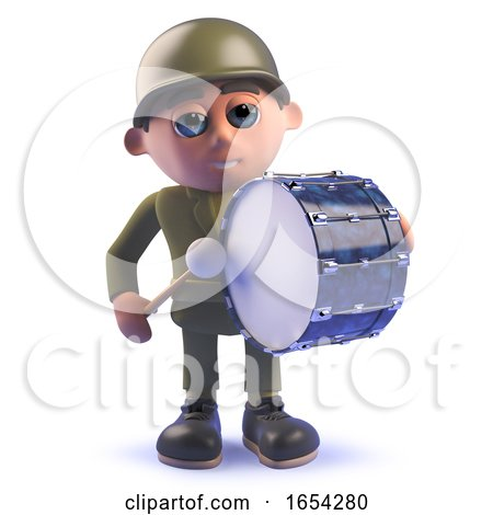 Army Soldier in 3d Drumming on a Bass Drum by Steve Young