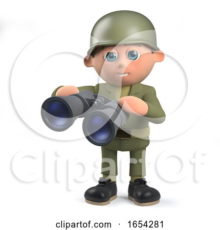 Army Soldier Character in 3d Holding a Pair of Binoculars by Steve Young