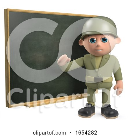 3d Army Soldier Character Teaching at the Chalkboard by Steve Young