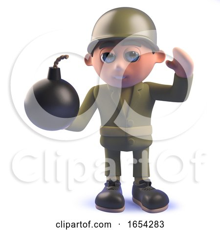 Army Soldier Character in 3d Holding a Bomb by Steve Young