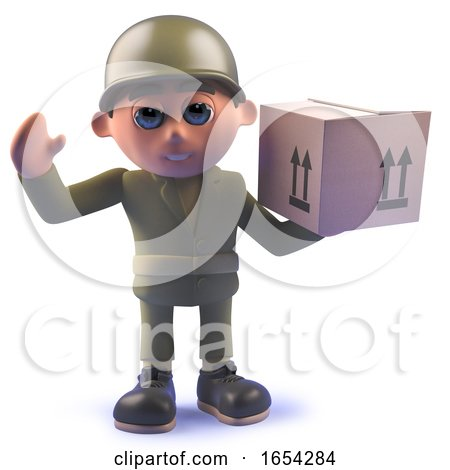 Character Army Soldier in 3d Carrying a Cardboard Box Parcel by Steve Young
