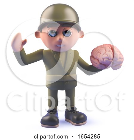 Army Soldier 3d Character Holding a Human Brain by Steve Young