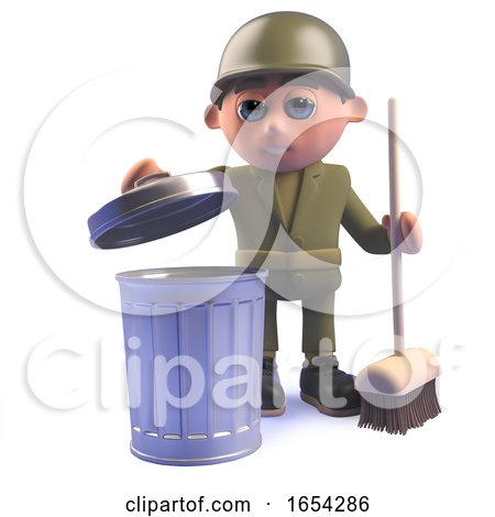 3d Army Soldier Character with Broom and Trash Can by Steve Young