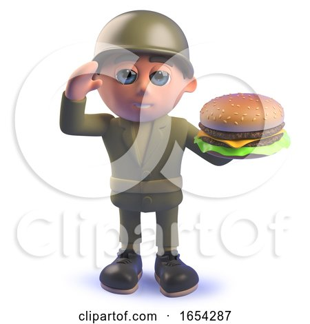 3d Army Soldier Holding a Cheese Burger by Steve Young