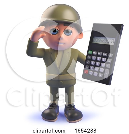 Character 3d Army Soldier Holding a Digital Calculator by Steve Young