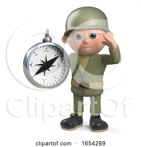 3d Army Soldier Character Holding a Navigation Compass by Steve Young