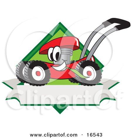 Clipart Picture of a Red Lawn Mower Mascot Cartoon Character Chewing Grass on a Blank Ribbon Label by Toons4Biz