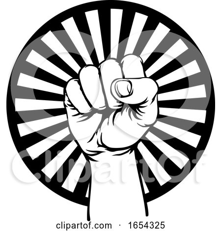 Retro Revolution Hand Fist Raised Air Propaganda by AtStockIllustration