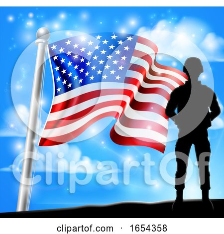 Patriotic Soldier American Flag Background Concept by AtStockIllustration