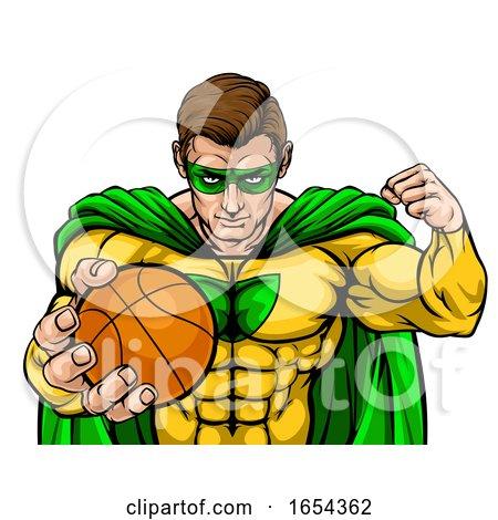 Superhero Holding Basketball Ball Sports Mascot by AtStockIllustration