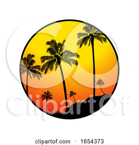 Summer Tropical Border with Palm Trees Silhouette by elaineitalia