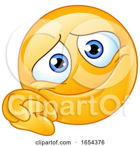 Cartoon Yellow Emoji Smiley with Clasped Hands by yayayoyo