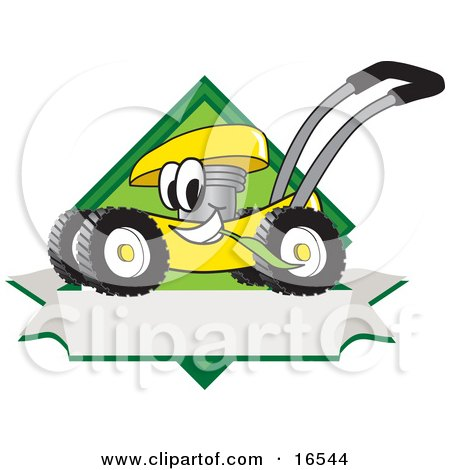 Clipart Picture of a Yellow Lawn Mower Mascot Cartoon Character Chewing Grass on a Blank Ribbon Label by Toons4Biz