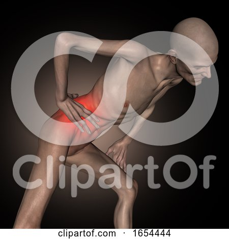 3D Old Thin Man Holding Hip in Pain by KJ Pargeter