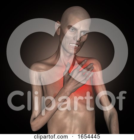 3D Old Thin Man Holding His Heart in Pain by KJ Pargeter