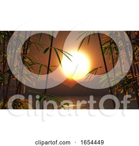 3D Bamboo Against a Sunset Landscape by KJ Pargeter