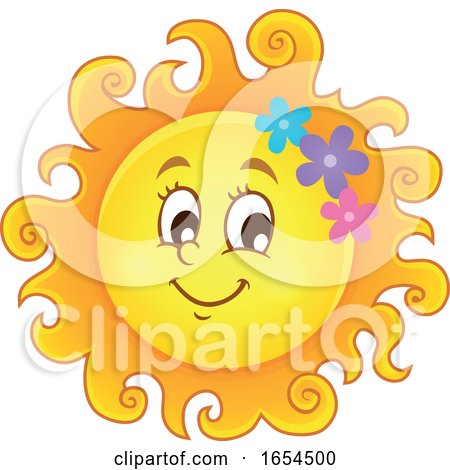 Smiling Summer Sun with Flowers by visekart