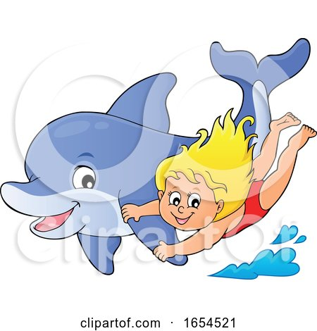Girl Swimming with a Dolphin by visekart