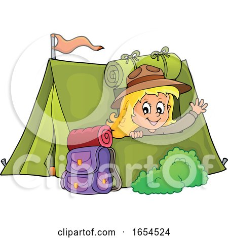 Girl Camping and Waving from Her Tent by visekart